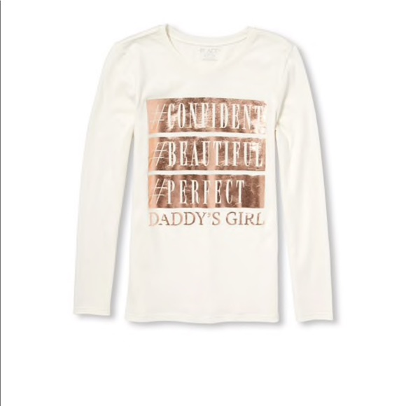 caabc821 Girls Long Sleeve Foil 'Daddy's Girl' Graphic Tee. NWT. The Children's Place
